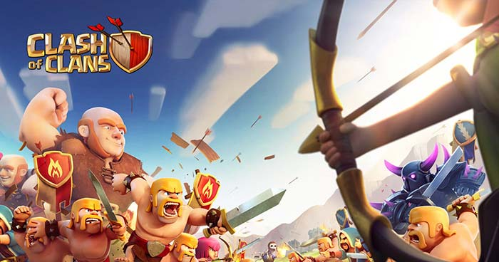 clash of clans barbarians protecting giant