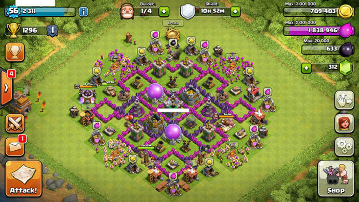 clash of clans crystal walled base