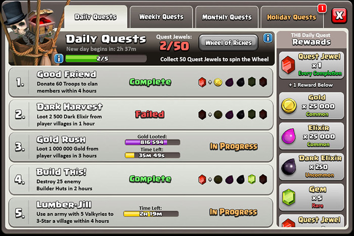clash of clans daily quests list