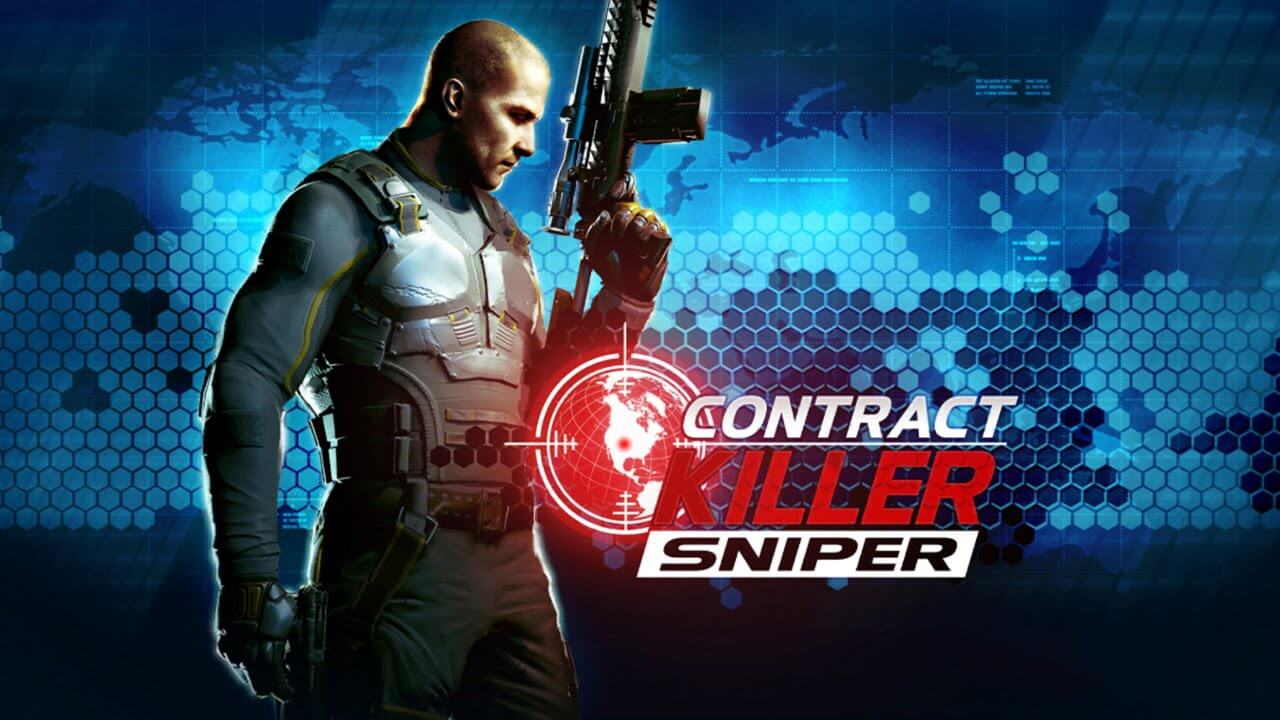 contract killer sniper agent holds gun up