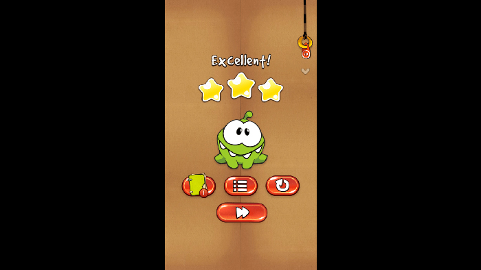 cut the rope omnom excellent three stars