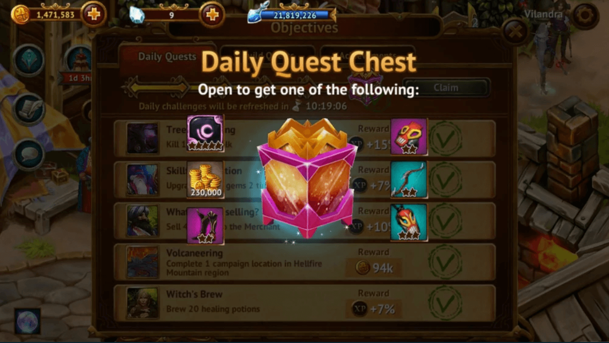 Guild of Heroes Daily Quests Chest Gold exp free pc download