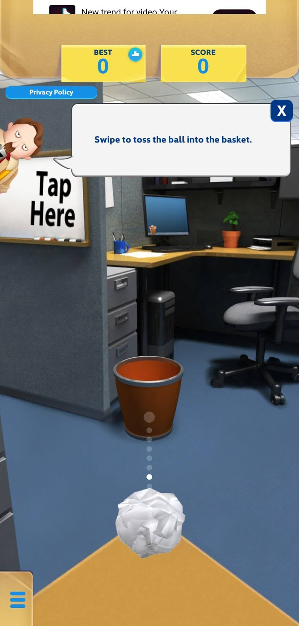 paper toss game features