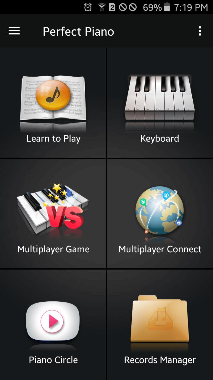 Perfect Piano Game Menu