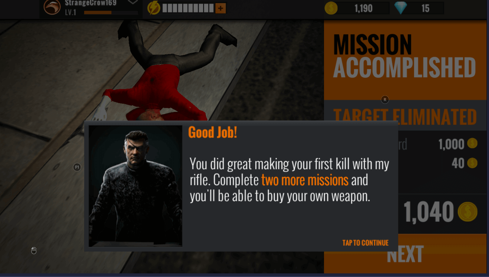 sniper 3d gun shooter boss congratulating