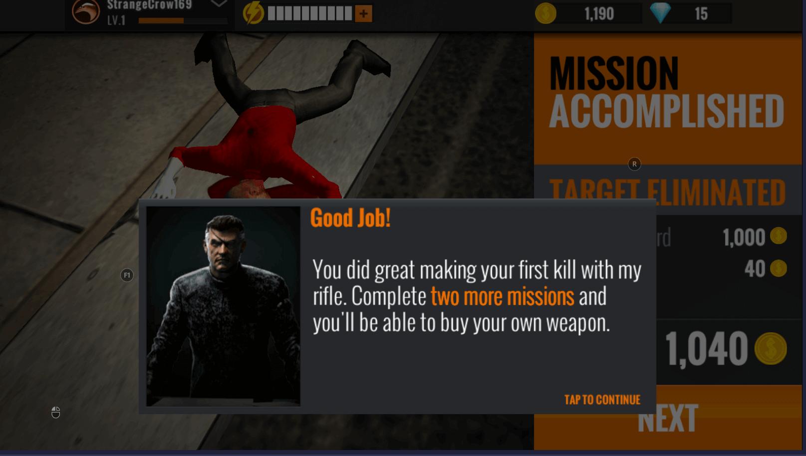 sniper 3d gun shooter boss congratulating