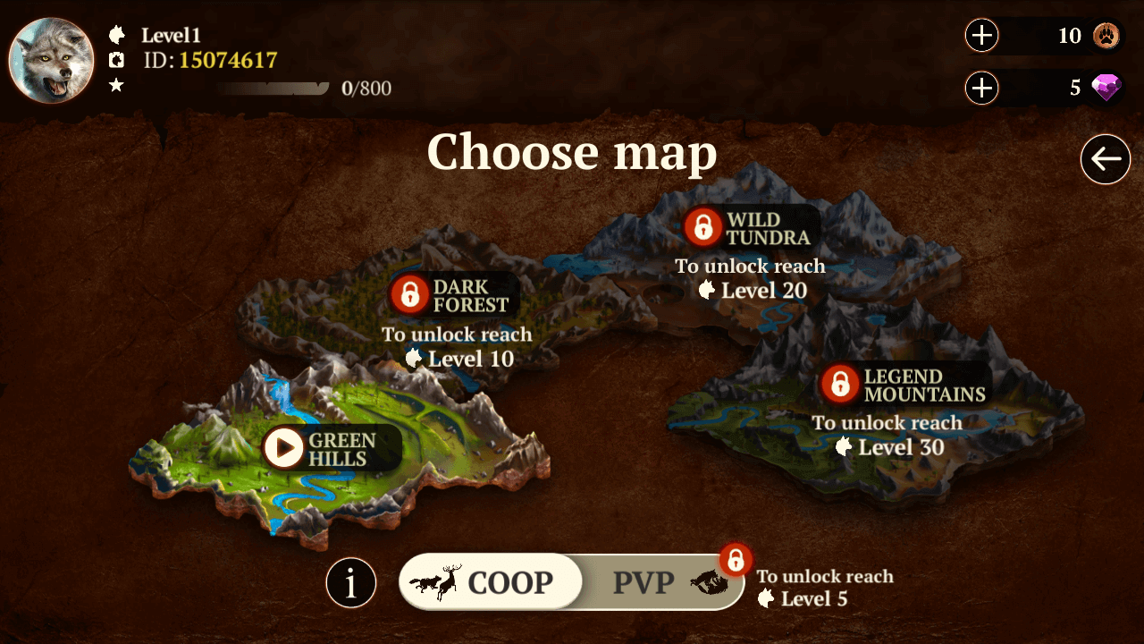 the wolf online map options