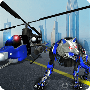 Play Air Force Transform Robot Cop Wolf Helicopter Game on PC