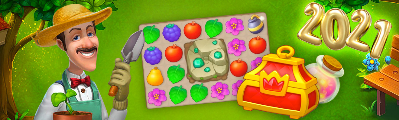 Gardenscapes 2021 treasure chests and matching elements