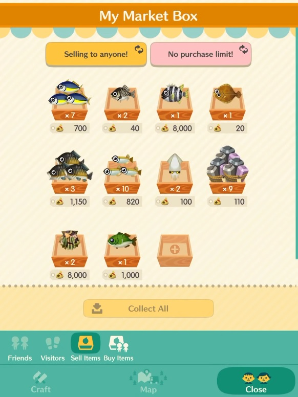 Animal Crossing Pocket Camp Selling Items