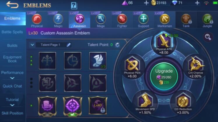 Mobile Legends Benedetta emblems