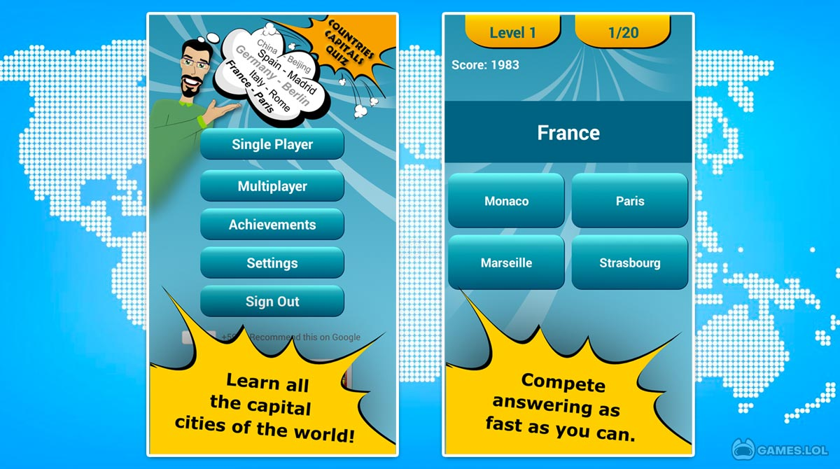 countries capitals quiz download free